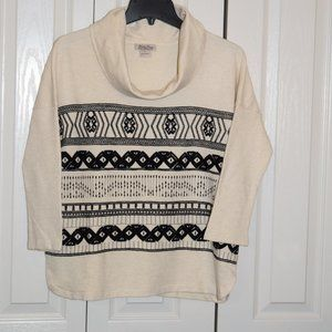 Lucky Brand Cotton Knit 3/4 cowlneck Sweater S